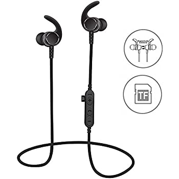 fc9e4c12e15 [Upgraded]SYL Bluetooth Headphones With TF SD Card Slot and Clip,  Sweatproof MP3