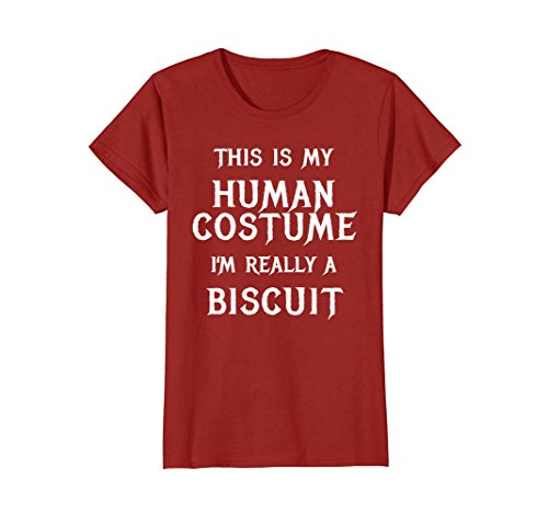 Womens I'm Really a Biscuit Halloween Shirt Easy Costume Large Cranberry