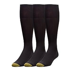 Gold Toe Men's 3-Pack Metropolitan Over-the-Calf Dress Socks, Black, 10-13 (Shoe Size 6-12.5)