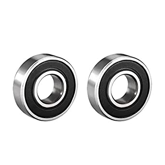 6001RS 12mm x 28mm x 8mm Rubber Sealed Deep Groove Ball Bearing 2 Pcs