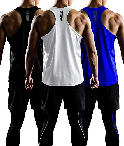 DRSKIN Men's 3 Pack Dry Fit Y-Back Gym Muscle Tank Mesh Sleeveless Top Fitness Training Cool Dry Athletic Workout (BTF-ME-TA-(B,W,BL), M)