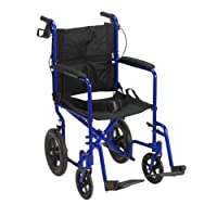 Drive Medical EXP19LTBL Lightweight Expedition Transport Wheelchair Blue with Hand Brakes, Size 19