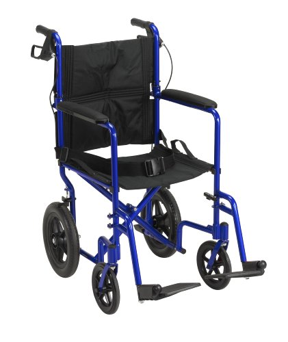 Drive Medical Lightweight Expedition Transport Wheelchair with Hand Brakes, Blue - Lightweight Wheel