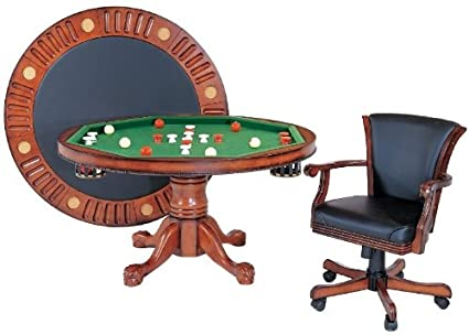 3 In 1 Game Table   Round 54u0026quot; Bumper Pool, Poker U0026 Dining With