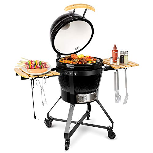 TUSY Charcoal Grill,18-inch Advanced Grill Ceramic with Digital Thermometer, Stable Rack for Moving Anywhere, Suitable for 5-12 People Camping Barbecue -Black (Smoker Ceramic)