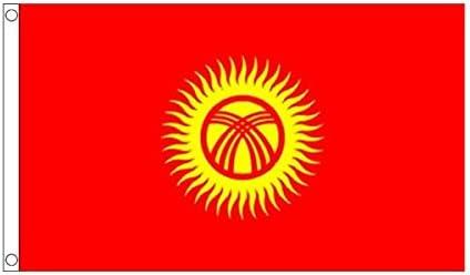 国旗 キルギス 共和国 90cmx150cm 特大フラッグ【ノーブランド品】