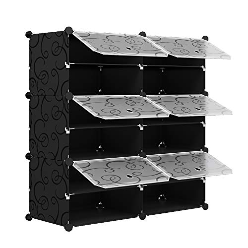 KOUSI 2 x 6-Tier Shoe Rack Shoe Tower Storage Cabinet Shoe Organizer Storage Organizer Modular Shoe Cabinet with Doors, Black