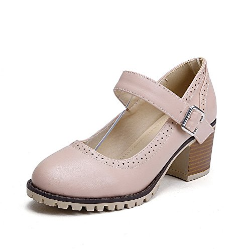 VogueZone009 Women's Microfiber Kitten Heels Round Closed Toe Solid Buckle Pumps-Shoes Pink t9brt
