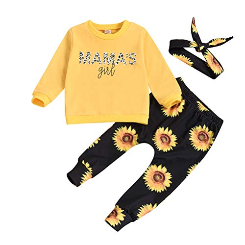 Baby Girls Leopard Pant Set Mamas Girl Long Sleeve Pullover Top Headband Outfit (Yellow, 12-18 Months)