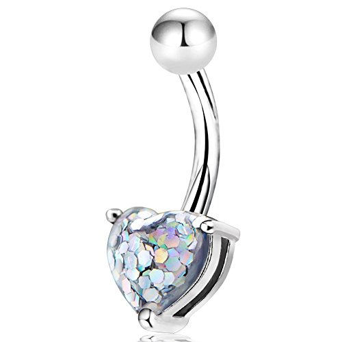 COCHARM Stainless Steel Belly Button Ring 14G Unique Confetti Heart Navel Belly Piercing Ring Barbells
