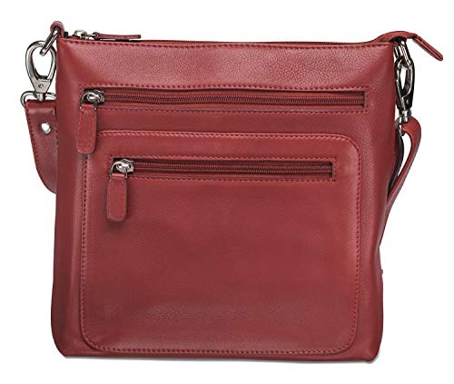 Deluxe Supple Drum Dyed Cowhide Leather Ladies Crossover Bag with RFID Secure Pocket, Red, 9