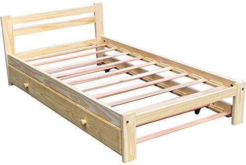 Amazonas Twin Bed with Trundle Solid Pine Wooden Trundle Bed Hardwood Slats Support Unfinished Suitable for Boys Girls Kids Bedroom Single Wooden Bed Frame