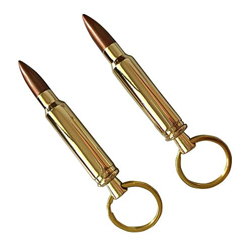 L & H household Bullet Bottle Opener w/Keyring Gift for Birthday Father's Day Anniversary Party Christmas (2, Gold)
