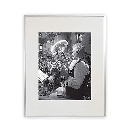 - Golden State Art, 16x20 Aluminum Silver Photo Frame, with Ivory Color Mat for 11x14 Pictures, Real Glass