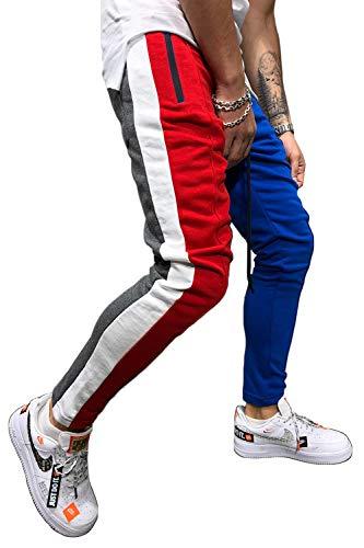 (Hakjay Mens Slim Fit Track Pants Striped Joggers Sweatpants Color Block Training Pants Red Blue)