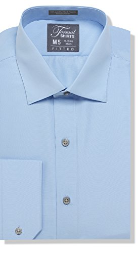 Luxe Microfiber Men's Fitted Spread Collar Dress Shirt - Style Jesse Blue