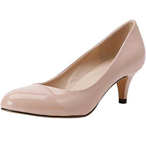Toe Dress Pointed apricot Shoes Patent Leather Wedding Dethan Heel Pumps High Party Fashion Womens qwSgPR