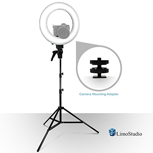 LimoStudio 14-inch LED Round Ring Light with Carry Bag and Light Stand Tripod, Dimmable Continuous Lighting Kit, Snap On White Diffuser Cover & Camera Mounting Bracket for Photo Video Shoots, AGG2393 by LimoStudio