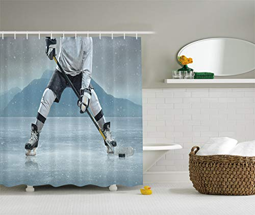 Ambesonne Sports Shower Curtain, Ice Hockey Player with Stick and Puck Mountain Background Canadian, Cloth Fabric Bathroom Decor Set with Hooks, 70