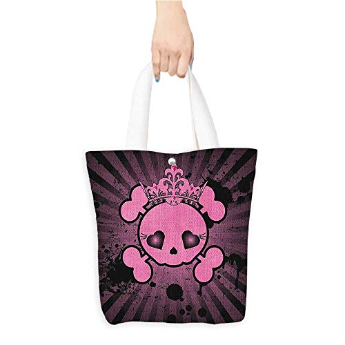 Personalized ToteCute Skull with Crown Dark Grunge Style Teen Spooky Halloween For Everyday Use W16.5 x H14 x D7 INCH -