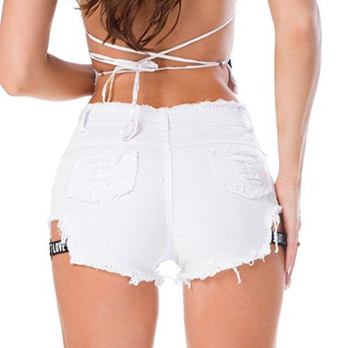 Hot Vita Jeans Alta Sexy Pantaloncini Straight Decorazione Pants Con Lettera Bianco Donna Strappati Tasche Band Estate Nightclub Yuanu RYOPA7q