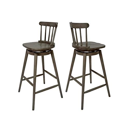 """Great Deal Furniture Mia Farmhouse Spindle Back 30"""" Rubberwood Swivel Barstools (Set of 2), Aged Gray"""