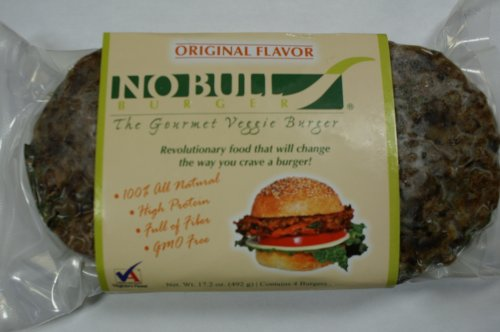 No Bull Gourmet Veggie Burger Original 24 Cooked & Frozen Burgers -12 - 2 packs - 1/4 pound per burger - All Natural & Organic -GMO Free Simply Heat & Serve by No Bull Gourmet Veggie Burger