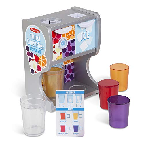 Melissa & Doug Wooden Thirst Quencher Drink Dispenser With Cups, Juice Inserts, Ice Cubes (10 pcs)