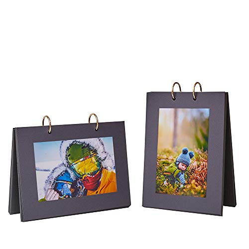 FORFOLIO 4x6 Flip Photo Album Picture Frames Collection Book Desktop Displaying Great Gifts for Family and Friends, Pack of 2 Hold 40 Prints (Black Cover, Black Interior)