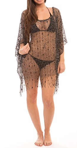 Women's Sexy Swimwear Hollow Mesh Fringe Poncho Cover Up Beach Dress (BLACK)