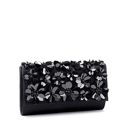 Womens Conran Grosgrain Black Jasper Clutch J By Embellished Flower Bag q6Zfgx1