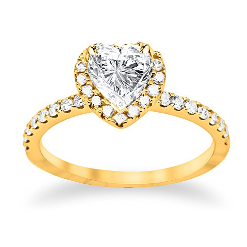 1.2 Carat GIA Certified 14K Yellow Gold Split Shank Heart Cut Diamond Engagement Ring (0.7 Ct H Color SI2 Clarity Center)