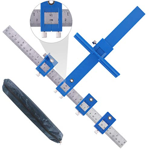 Hilitchi Drill Punch Locator, Adjustable Cabinet Hardware Jig Woodworking Drilling Dowelling Tool For Handles Knobs on…