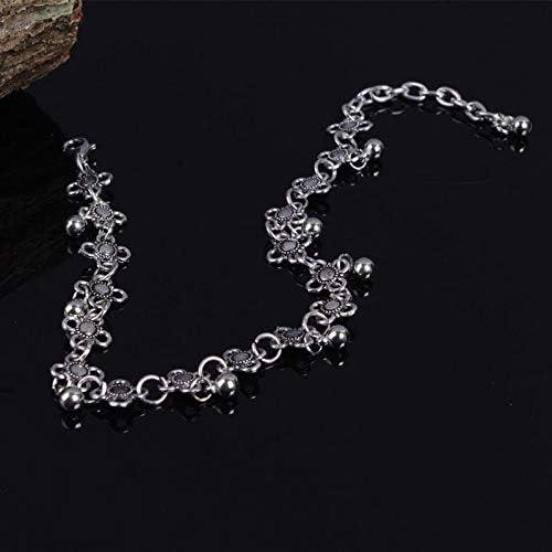 QIHAIQ Mode Femmes Cha/îne Cheville Bracelet Antique Argent Fleur Petites Cloches Balle Gland Cheville Pied Cha/îne Costume Indien Cheville