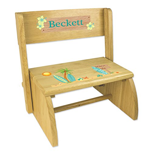 Flip Wooden Stool - Personalized Childrens Wooden Folding and Flip Stool Surf Decor Theme Beach