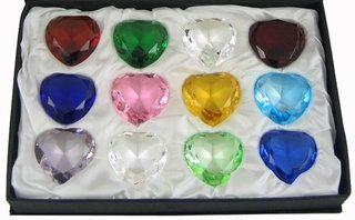 - Crystal Heart Shaped Diamond Paperweight 40mm Birthstone, 12-pc-package, Boxed