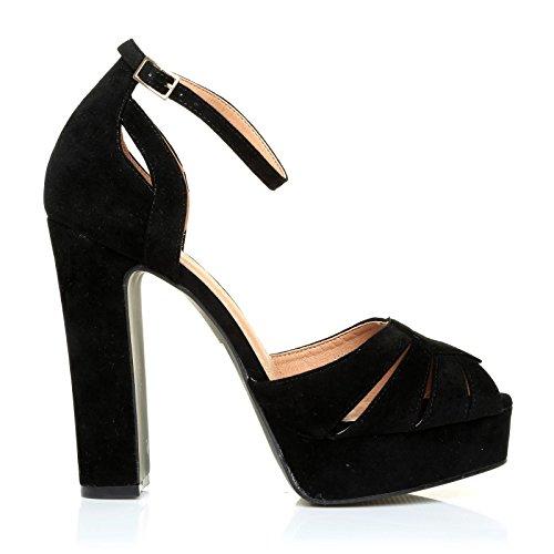 Sandales UK noir Daim pour femme noir ShuWish Szw5qA0A