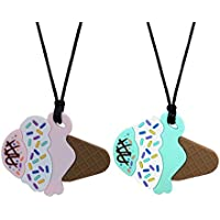 Sensory Oral Motor Aide Chew Necklace for Boys Girls Adults, Silicone Ice Cream Chewy Jewelry for Autism, ADHD, Baby Nursing or Special Needs - Reduces Chewing Biting for Chewers - 2 Pack (Ice Cream)