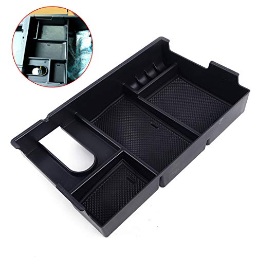 - SalaBox-Accessories - Car Black ABS Plastic Center Console Storage Box Arm Rest Glove Tray Case Fit for Toyota Tundra 2014 2015