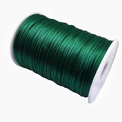 YEQIN 2mm x 100 Yards Quality Rattail Nylon Satin Cord Roll, Kumihimo Rattail, Chinese Knot (Green)