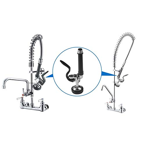 MSTJRY Pre-Rinse Spray Valve with Handle Grip Assembly for Commercial Kitchen Faucet Polished Chrome High Pressured Sink Faucet Sprayer Head for Replacement Kit of Commercial Faucet