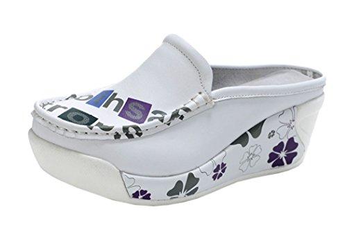Passionow Christmas Women New Style Beautiful Cute Platform Cowhide Shoes(6 B(M)US, White)