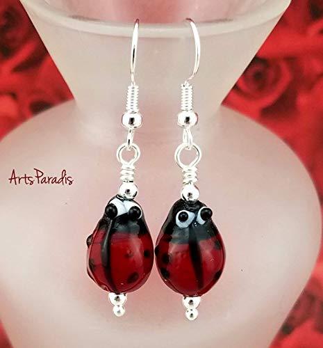 Adorable Lampwork Glass Ladybug Insect Dangle Earrings by ArtsParadis - Lucky Ladybird Ladybeetle