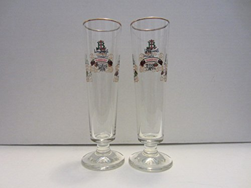 Set of 2 Lindemans Merchant du Vin Framboise Kriek Peche Pomme Belgian Lambic Beer Gold Rim Flute Glasses - Kriek Beer