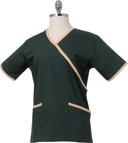 Chef Works FESS-HUN-3XL Women's Medical Scrub Top, Hunter/Tan, - Women Hun