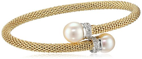 Women's 14k Yellow Gold Plated Sterling Silver Freshwater Pearl and Cz Accent Popcorn Mesh Bangle Bracelet 14k Yellow Gold Pearl Bracelet