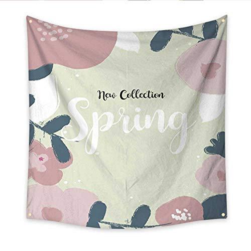 Anniutwo Decor Tapestry Fundo Primavera Moderno com Flores em Estilo pintura com pincel Living Room Bedroom Dorm Decor 32W x 32L Inch]()