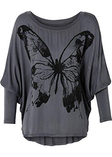 Damen Shirt mit weiten Ärmeln, 197332 in Grau bedruckt