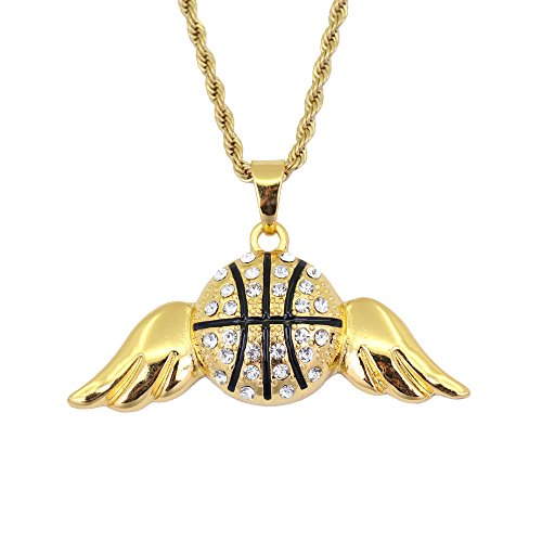 542de1a8cfef MCSAYS Hip Hop - Collar de baloncesto con colgante de alas de acero  inoxidable Nuevo