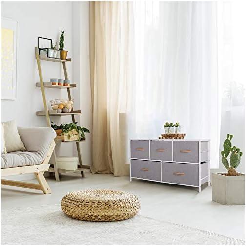 ROMOON Dresser Organizer with 5 Drawers, Fabric Storage Drawer Unit, Dresser Tower for Bedroom, Hallway, Entryway…